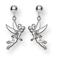 14K White Gold Disney Tinker Bell Dangle Post Earrings