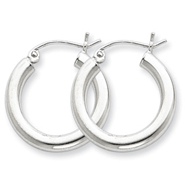Sterling Silver 3x20mm Round Hoop Earrings