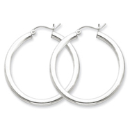 Sterling Silver 3x35 mm Round Hoop Earrings