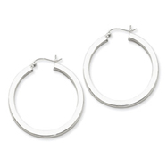 Sterling Silver 3.25x35  mm Round Hoop Earrings