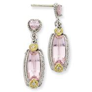 Sterling Silver Vermeil Pink CZ Dangle Post Earrings