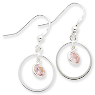 Sterling Silver Circle Dangle Pink Cubic Zirconia Earrings