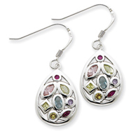 Sterling Silver Multi-colored Dangle Wire Earrings