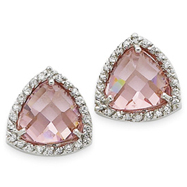 Sterling Silver Pink Cubic Zirconia Trillion Post Earrings