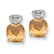 Sterling Silver Champagne Cubic Zirconia Post Earrings