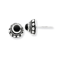Sterling Silver Antiqued Onyx Earrings