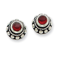 Sterling Silver Antiqued Garnet Earrings