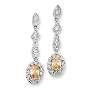 Sterling Silver Champagne & Clear Cubic Zirconia Post Earrings