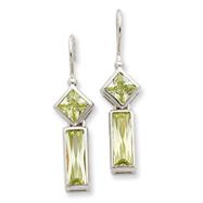 Sterling Silver Light Green Cubic Zirconia Dangle  Earrings