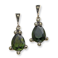 Sterling Silver Olive Cubic Zirconia & Marcasite Earrings