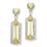 Sterling Silver & Vermeil Light Green Cubic Zirconia Post Earrings