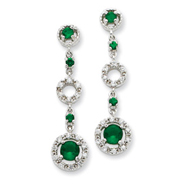 Sterling Silver Green Glass & Cubic Zirconia Dangle Post Earrings