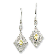 Sterling Silver Yellow & Clear Cubic Zirconia Dangle Earrings
