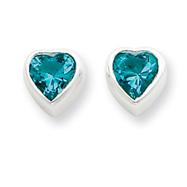 Sterling Silver Heart-Shaped Light Blue CZ Earrings