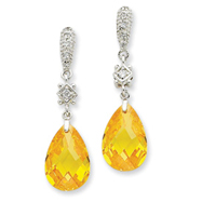 Sterling Silver Yellow Cubic Zirconia Dangle Post Earrings