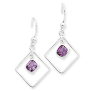 Sterling Silver Diamond Shaped Purple Cubic Zirconia Earrings