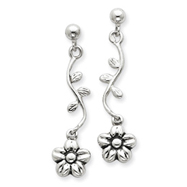Sterling Silver Antiqued Floral Earrings