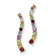 Sterling Silver Multicolor Gemstone Post Earrings