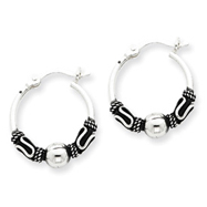 Sterling Silver Antiqued Fancy Beaded Hoop Earrings