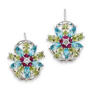 Sterling Silver Multicolored Cubic Zirconia Omega Back Earrings