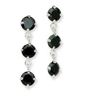 Sterling Silver Black Cubic Zirconia Dangle Earrings