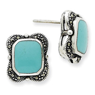 Sterling Silver Marcasite And Turquoise Earrings