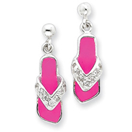 Sterling Silver Pink Enameled & Cubic Zirconia Flip Flop Post Earrings