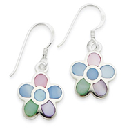 Sterling Silver Multi-Colored Shell Flower Earrings