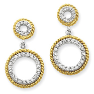 Sterling Silver & Vermeil Cubic Zirconia Circle Post Earrings