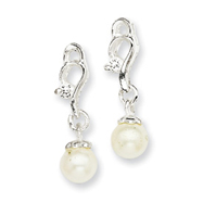 Sterling Silver Cubic Zirconia & Simulated Pearl Post Earrings