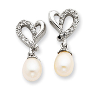 Sterling Silver Freshwater Cultured Pearl Cubic Zirconia Earrings