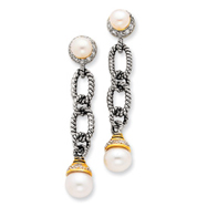 Sterling Silver Imitation Pearl And Cubic Zirconia Earrings