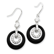 Sterling Silver Black Circle Cubic Zirconia Earrings