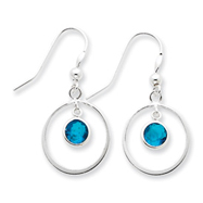 Sterling Silver Circle Dangle Blue Cubic Zirconia Earrings