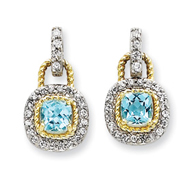 Sterling Silver Vermeil Blue Cubic Zirconia Earrings