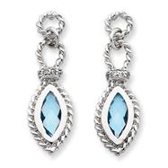 Sterling Silver Blue Topaz & Cubic Zirconia Post Earrings