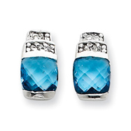 Sterling Silver Blue & Clear Cubic Zirconia Post Earrings