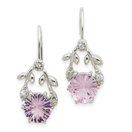 Sterling Silver Cubic Zirconia & Pink Cubic Zirconia Earrings