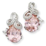 Sterling Silver Pink Cubic Zirconia Post Earrings