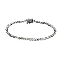 Sterling Silver Rhodium Plated 2.5mm Wave and CZ Stone Tennis Bracelet