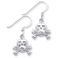 Sterling Silver Cubic Zirconia Skull With Cross Bones Earrings