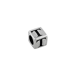 "Sterling Silver ""T"" Square Bead"