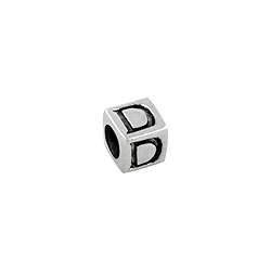 "Sterling Silver ""D"" Square Bead"