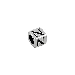 "Sterling Silver ""N"" Square Bead"