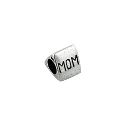 "Sterling Silver ""#1 Mom"" Triangular Bead"