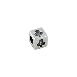 Sterling Silver Clubs Square Bead