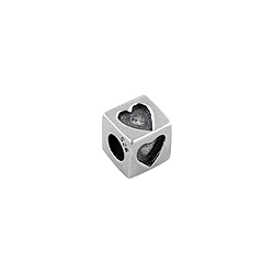 Sterling Silver Hearts Square Bead