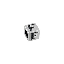 "Sterling Silver ""F"" Square Bead"