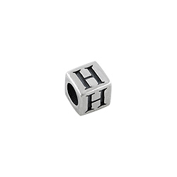 "Sterling Silver ""H"" Square Bead"