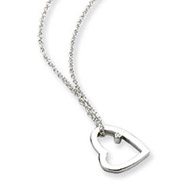 Sterling Silver White Ice .01ct Diamond Heart Necklace
